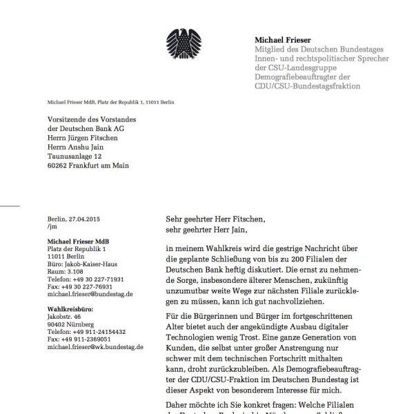 """Schließung von 200 Filialen der """"Deutschen Bank"""""""